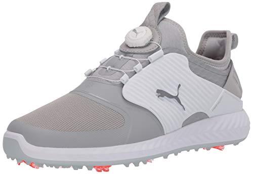 Puma Golf Men's Ignite Pwradapt Caged Disc Golf Shoe, Gray Violet-Puma Silver-Puma White, 9.5 M US