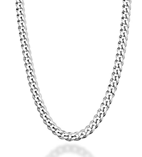 MiaBella Solid 925 Sterling Silver Italian 5mm Diamond Cut Cuban Link Curb Chain Necklace for Women Men, 16, 18, 20, 22, 24, 26, 30 Inch Made in Italy (26.0 Inches)