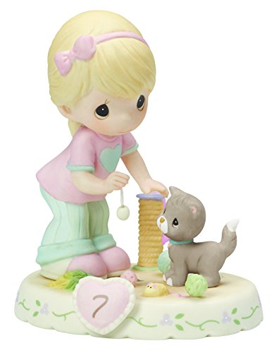 Precious Moments, Growing In Grace, Age 7, Bisque Porcelain Figurine, Blonde Girl, 154034