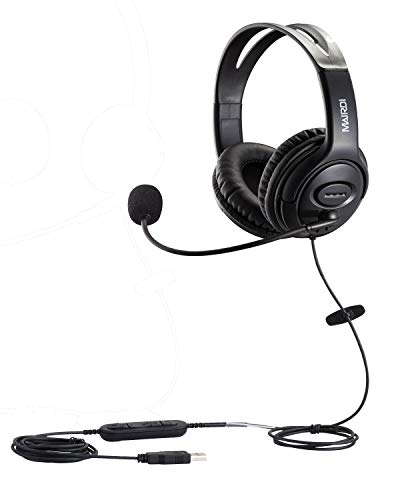 USB Headset with Microphone Noise Cancelling & Mic Mute, Stereo Computer Headphone for Call Center Office Business PC Softphone Calls Microsoft Teams Skype Chat, Clear Voice for Voice Recognition