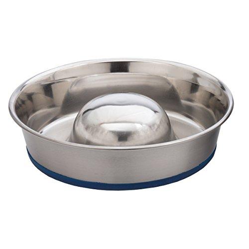 OurPets DuraPet Slow Feed Premium Stainless Steel Dog Bowl, Medium