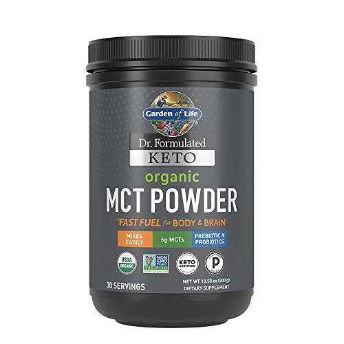 Garden of Life Dr. Formulated Keto Organic MCT Powder - 30 Servings, 6g MCTs from Coconuts Plus Prebiotic Fiber & Probiotics, Certified Organic, Non-GMO, Vegan, Gluten Free, Ketogenic & Paleo