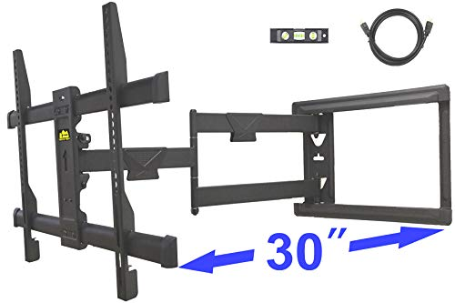 FORGING MOUNT Long Extension TV Mount Corner Wall Mount TV Bracket Full Motion with 30 inch Long Arm for Corner/Flat Installation fits 32 to 70' Flat/Curve TVs, VESA 600x400mm Holds up to 99lbs