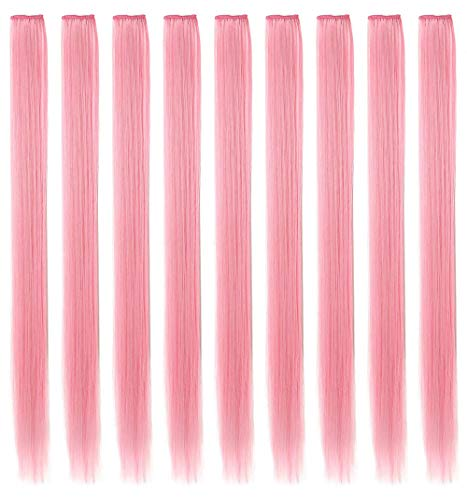 ECOCHARMS 9PCS Princess Party Highlights Clip in Smoke Pink Hair Extensions Costumes Wig for American Girls/Dolls(Light Pink)