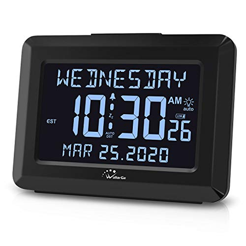 WallarGe Auto Set Digital Alarm Clock with USB Charger, 6' Large Screen Days Clocks for Alzheimer's Senior Old People, Snooze, Calendar, AC Powered with Battery Operated Options Clock for Bedroom.