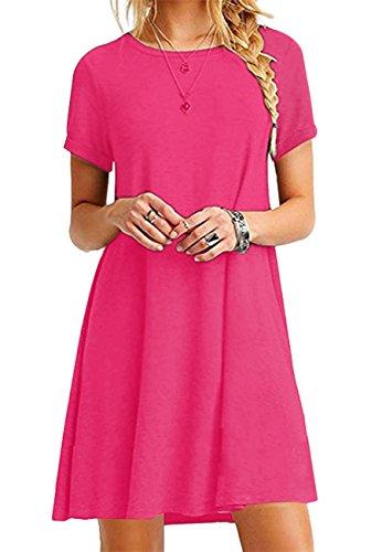 YMING Women's Swing Dress Tie Dye Dress Flowy Short Dress Swing Dress Rose4XL