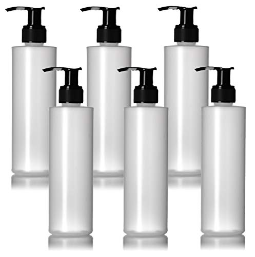 6 Pack 8 Oz Plastic Pump Dispenser Bottles for Lotion, Massage Oil, Shampoo and More! - Refillable, BPA Free Clear / Opaque Empty 8oz Containers - Fit Into Holsters, Bulk