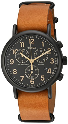 Timex Unisex TW2P97500 Weekender Chrono Tan Double-Layered Leather Slip-Thru Strap Watch