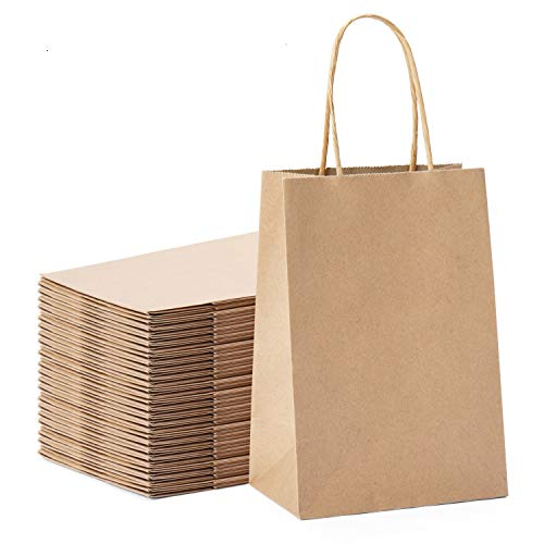 GSSUSA 100pcs Brown Kraft Paper Bags 5.25' x 3.75' x 8',Handled, Shopping, Gift, Merchandise, Carry, Retail,Party Bags (Brown)