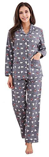 Richie House Women's Printed Flannel Two-Piece Set Pajama RHW2774-B-S Grey