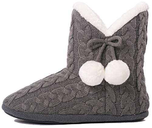 AIREE FAIREE Slipper Boots for Women Booties Ladies Furry Boot Bootie Slippers House Faux Fur Knitted Boots (Medium US 7-8, Grey)