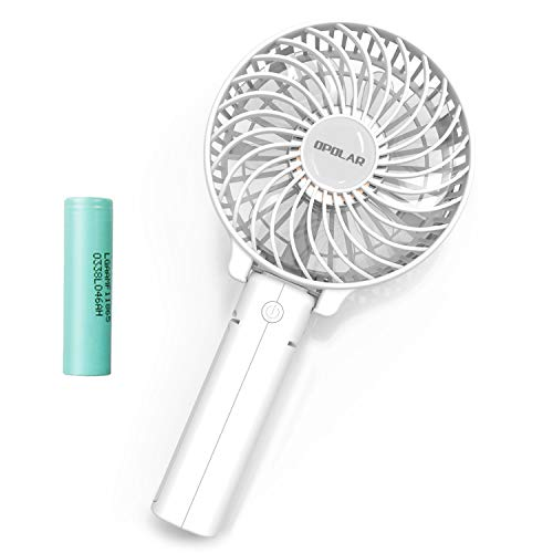 OPOLAR Small Hand Held Battery Operated USB Fan, Personal Portable Rechargeable Fan with 2200mAh Battery and 3 Settings for Travel Home Office and Outdoor Use - White