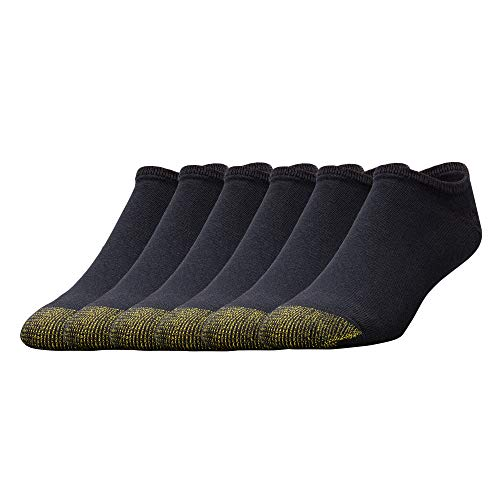 Gold Toe Men's 656f Cotton No Show Athletic Socks, Multipairs, Black (6-Pairs), Large