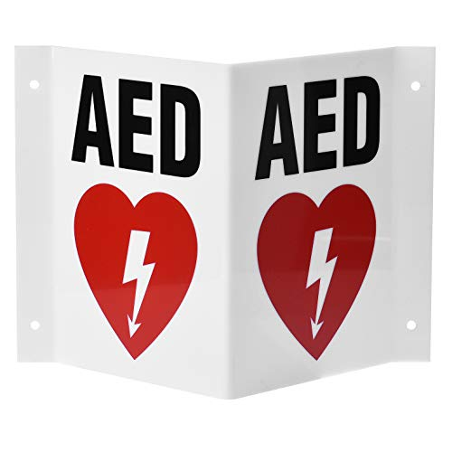 AdirMed AED Locator 3D Sign - Industrial Grade 2 Sided Symbol Plastic - Easy Directions for Emergency Concerns for Office & Hospital 6' x 5'.