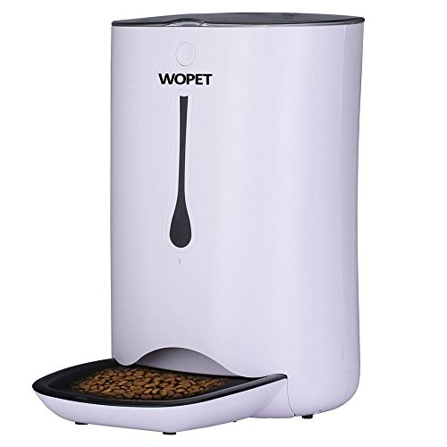 WOPET Automatic Pet Feeder Food Dispenser for Cats and Dogs–Features: Distribution Alarms, Portion Control, Voice Recorder, Programmable Timer for up to 4 Meals per Day