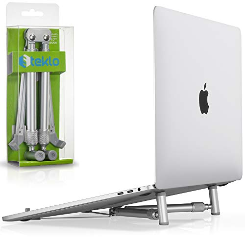Steklo Laptop Stand Adjustable Ergonomic - Aluminum Laptop Riser Computer Holder for 12 - 17 inch Portable Laptop Stands Foldable Notebook Stand Compatible with MacBook Pro Stand Air PC Laptops Silver