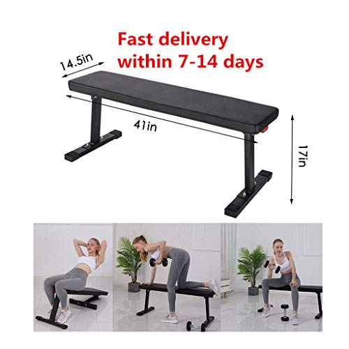 Flat Bench Workout Bench–Gym Quality Foldable Flat–Weight Bench for Dumbbell & Barbell Press Workouts, Garage and Home Gym (A, Black)