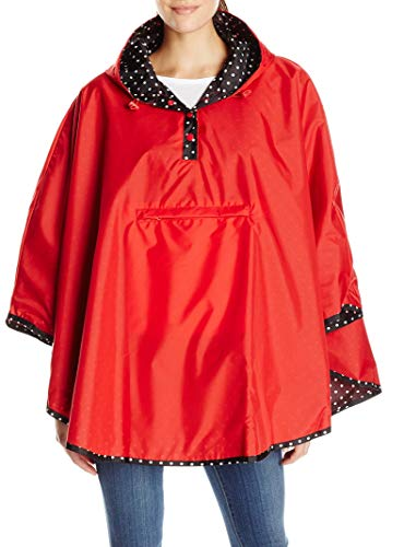 totes Women's Reversible Rain Poncho, Red, One Size