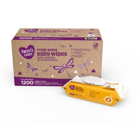 Parents Choice Baby Wipes, 12 packs of 100 (1200 count) (Fresh Scent)