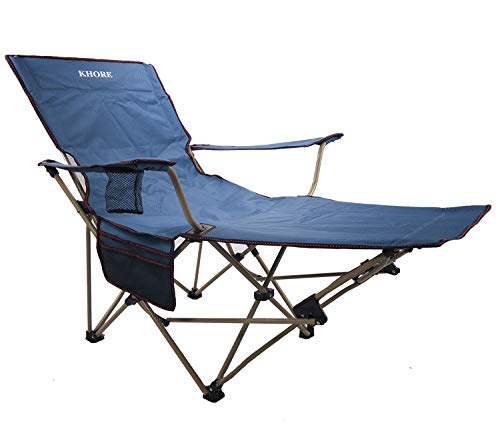 Khore Automaticly Adjustable Recliner Folding Camping Chair with Footrest (Blue)