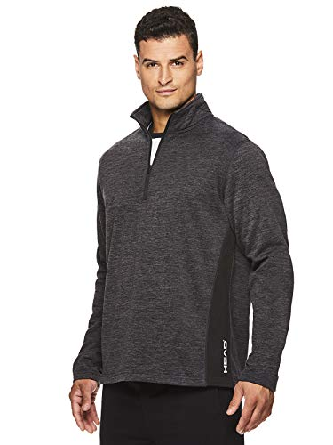HEAD Men's 1/4 Zip Up Activewear Pullover Jacket - Long Sleeve Running & Workout Sweater - Warm Up Black Heather, Large