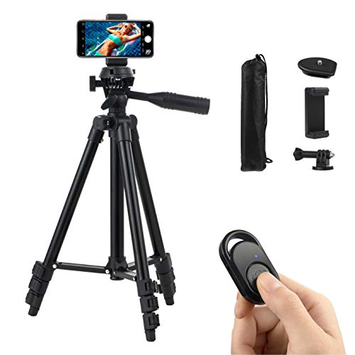 Polarduck Camera Mount Phone Tripod Stand: 42-Inch 106cm Lightweight Travel Tripod for iPhone with Remote & Phone Holder & GoPro Adapter Compatible with iPhone & Android Cell Phone | Matte Black