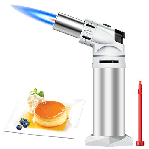 DLYM Butane Torch Lighters, Kitchen Torch Refillable Adjustable Flame Kitchen Torch with Safety Lock & Adjustable Flame for BBQ, Creme Brulee, Baking, DIY Soldering (Butane Gas not Included) (White)