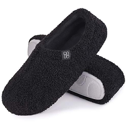 HomeTop Women's Fuzzy Curly Fur Memory Foam Loafer Slippers Bedroom House Shoes with Polar Fleece Lining (Large 9-10 M, Black)