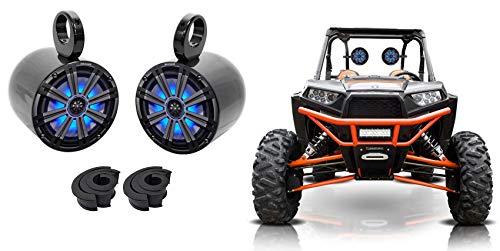Pair Kicker KM8 8' 600 Watt LED Tower Speakers For Polaris RZR/ATV/UTV/Cart/Jeep