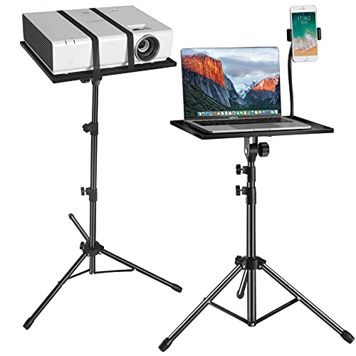 Projector Laptop Tripod Stand - Computer, Tablet, DJ Equipment Holder Mount with Gooseneck Phone Holder Height Adjustable Up to 42 Inches w/ 15'' x 11'' Plate Size - for Stage or Studio Use
