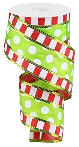 Polka Dots with Stripes Wired Edge Ribbon - 10 Yards (Red, Green, White, 2.5 Inches)