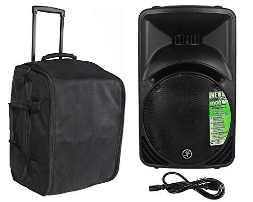 Mackie SRM450V3 SRM450-V3 1000 Watt 12' Powered Active PA Speaker Bundle with Rockville SB12L Rolling Travel Bag For 12' DJ PA Speakers w/Carry Handle