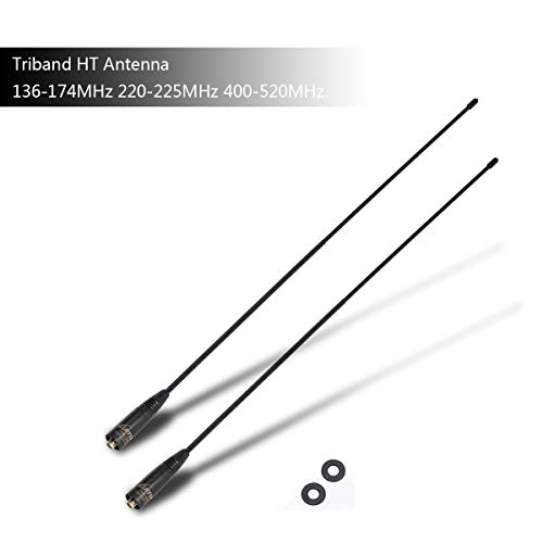 Walkie Talkie Antenna NA-320A Triband HT Antenna 144-220-440Mhz Antenna SMA-F Compatie with Baofeng UV-5X3 UV-25X4 UV-82X3 BF-R3 UV-9S UV-5R MK3X Two-Way Radio (2 Pack) by LUITON