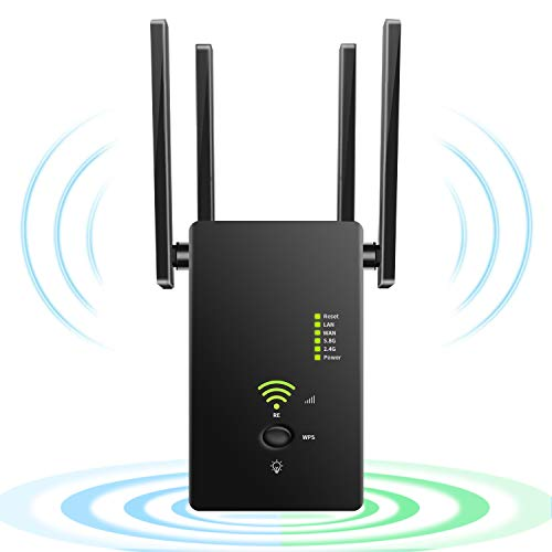 Procity WiFi Extender Wireless Signal Booster, 1200Mbps WiFi Repeater Dual Band 2.4G and 5G with 4 Advanced Antennas, Long Range up to 2500 FT WiFi Range Extender Internet Amplifier(Black)