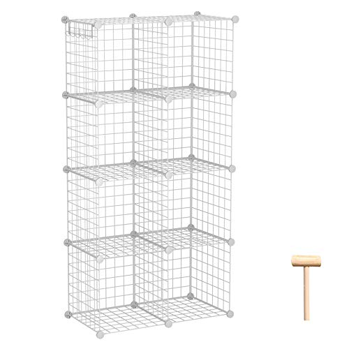 C&AHOME Wire Storage Cubes, Metal Grids Book Shelf, Modular Shelving Units, Stackable Bookcase, 8 Cubes Closet Organizer for Home, Office, Kids Room, 24.8' L x12.4 W x 48.4' H White