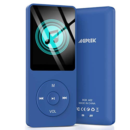 AGPTEK A02 8GB MP3 Player, 70 Hours Playback Lossless Sound Music Player, Supports up to 128GB, Dark Blue