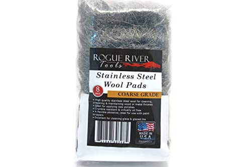 434 Stainless Steel Wool (8 pad Pack) - COARSE Grade - by Rogue River Tools. Made in USA, Oil Free, Won't Rust