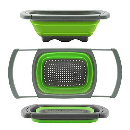 Qimh Colander collapsible, Colander Strainer Over The Sink Vegetable/Fruit Colanders Strainers With Extendable Handles, Folding Strainer for Kitchen,6 Quart