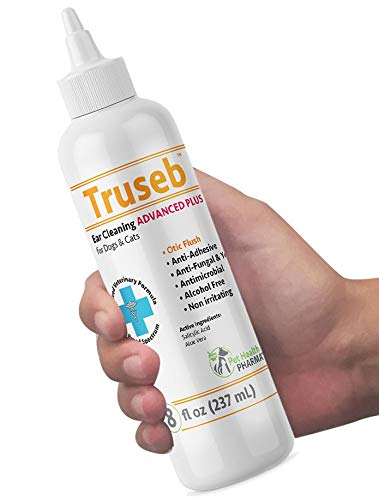 Truseb | #1 Ear Cleaner ADVANCED PLUS Solution Formula for Cats and Dogs, Pet Cleaning Ear Wash + Aloe, Ear Infection Treatment, Yeast, Mite, Odor, Itching, Otitis Externa, Wax,Antibacterial Antifung