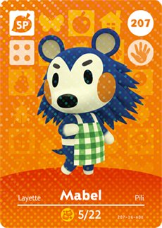 Mabel - Nintendo Animal Crossing Happy Home Designer Amiibo Card - 207