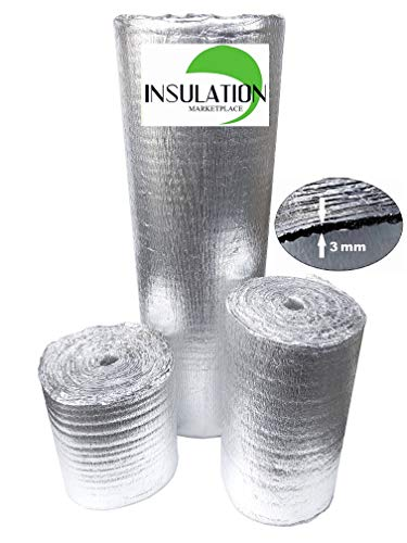 SmartSHIELD -3mm 24'x50Ft Reflective Insulation roll, Foam Core Radiant Barrier, Thermal Insulation Shield, Commercial Grade (24'x50')