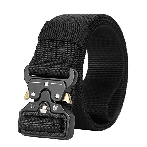 Mens Nylon Belt Webbing, SANSTHS Tactical Duty Belt 1.5 inch Upgraded Aluminum Alloy Buckle, Black S