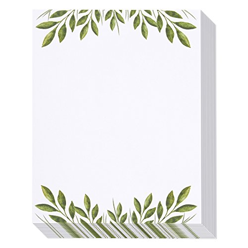 Stationery Paper - 96 Pack Leaf Themed Printer Friendly Letter Size Sheets - 8.5 x 11 Inches