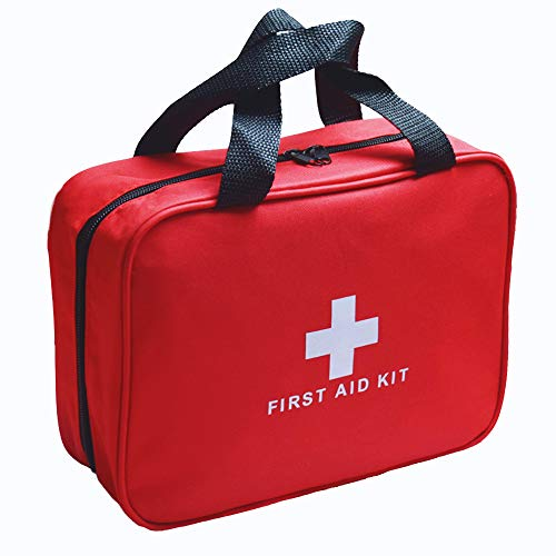 Red First Aid Kit Bag Empty, Empty Travel First Aid Bag Storage Compact Survival Medicine Bag for Home Office Car Businesses Camping Kitchen Sport Outdoors
