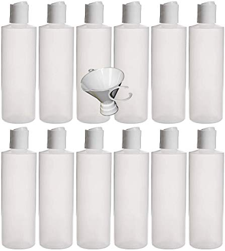Earth's Essentials Twelve Pack of Refillable 8 Oz. Squeeze Bottles with One Hand Press Cap Dispenser Tops-Great for Dispensing Lotions, Shampoos and Massage Oils.
