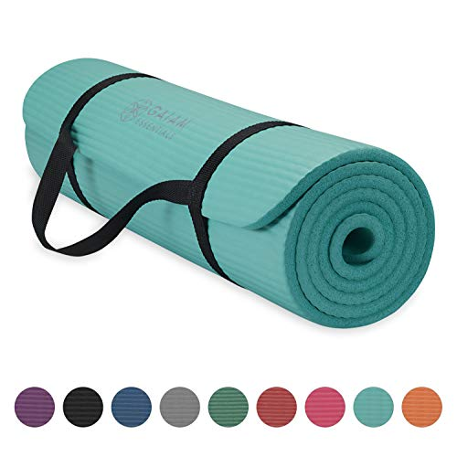Gaiam Essentials Thick Yoga Mat Fitness & Exercise Mat With Easy-Cinch Yoga Mat Carrier Strap, Teal, 72'L X 24'W X 2/5 Inch Thick