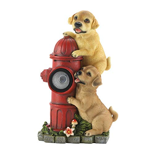 Fire Hydrant and Puppies Solar Garden Light
