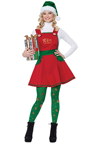 California Costumes Women's Elf in Charge-Adult Costume, Red/Green/White, Small/Medium