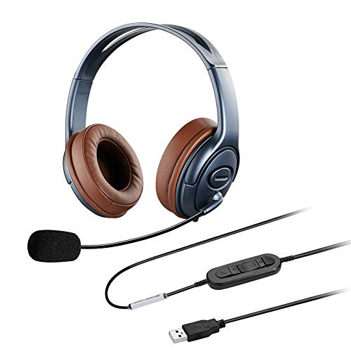 Oppetec Over Ear Laptop Headset Dual Ear USB Headset with Noise Cancelling Microphone for PC Voice Recognition Nuance Dragon Speech Dictation Online Course Video Conference Webinar