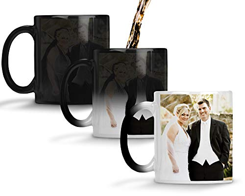 Custom Personalized Heat Sensitive Color Changing Coffee Mug Add 2 Images 1 to each side Custom image Mug Changes to Blank when Cold and Image shows when Hot   No Minimums   11 Ounce Custom Coffee Mug